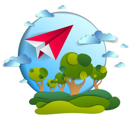 Paper plane flying in cloudy sky over scenic landscape of grasslands and trees, origami folded toy airplane in beautiful nature, vector illustration, airlines, airways air travel theme.