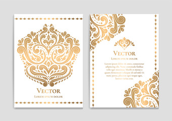 Gold vintage greeting card on a white background. Luxury vector ornament template. Mandala. Great for invitation, flyer, menu, brochure, postcard, wallpaper, decoration, or any desired idea.