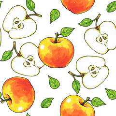 Apples fruits are isolated on a white background. Healthy food. Handwork. Seamless pattern for design.