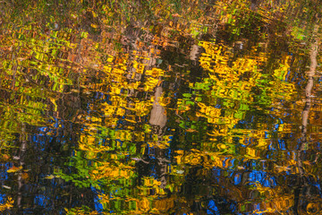 multicolored bright abstract lines of reflection in water