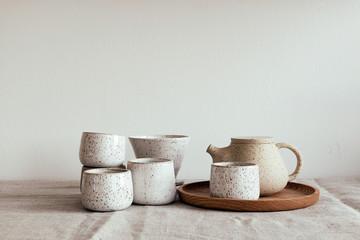 Obraz Handmade pottery tea set - fototapety do salonu