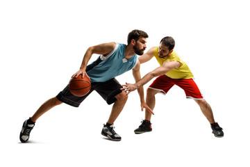 Basketball player driving to basket