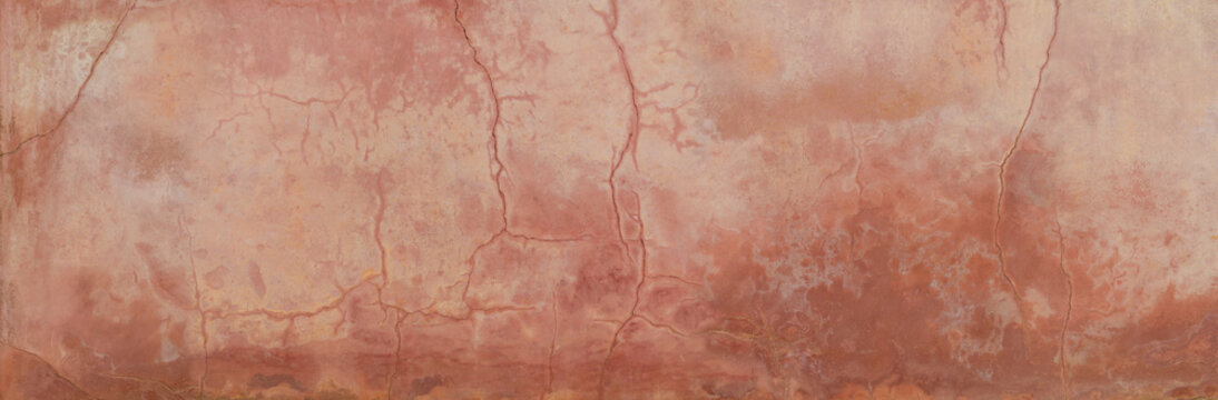 old weathered cracked grungy terractotta colored background wall texture