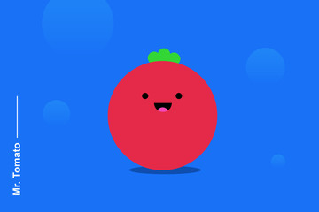 Happy and funny tomato. Cheerful character