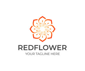 Red linear flower logo design. Beauty and spa salon vector design. Floral logotype