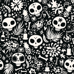 Dia de los muertos seamless vector pattern. The main symbols of the holiday in black and white. Day of the dead in minimalistic design.