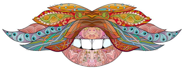 Mustache and mouth ornate sketch for your design. Drawing, floral