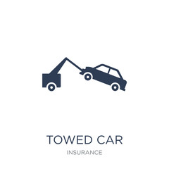 Towed car icon. Trendy flat vector Towed car icon on white background from Insurance collection