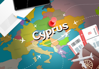 Cyprus travel concept map background with planes, tickets. Visit Cyprus travel and tourism destination concept. Cyprus flag on map. Planes and flights to Nicosia holidays to Larnaca,Limassol