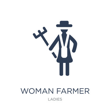 Woman Farmer icon. Trendy flat vector Woman Farmer icon on white background from Ladies collection