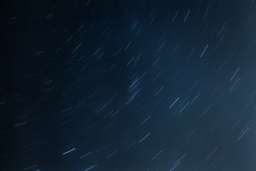 night sky with traces of stars on a long exposure