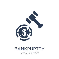 bankruptcy icon. Trendy flat vector bankruptcy icon on white background from law and justice collection