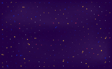 Space design background for web page. Galaxy concept with comets, planets and stars. Vector illustration