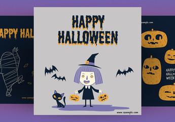Halloween Social Media Post Layout Set
