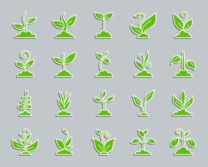 Green grass patch sticker icons vector set
