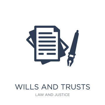 wills and trusts icon. Trendy flat vector wills and trusts icon on white background from law and justice collection