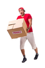 Handsome contractor holding fragile box isolated on white