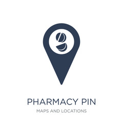Pharmacy Pin icon. Trendy flat vector Pharmacy Pin icon on white background from Maps and Locations collection