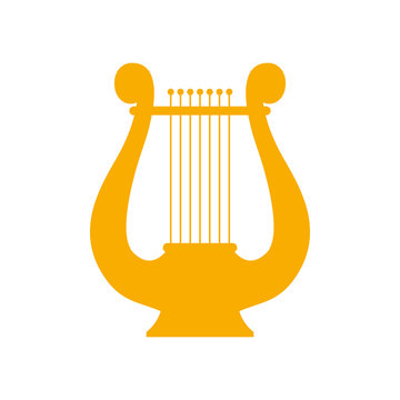 Icon lyre, a stringed musical instrument. Vector. Art, music, poetry.