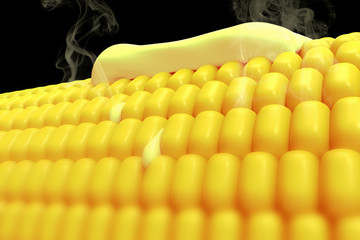3D rendering of a close up of a hot corn with melted butter