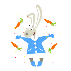 Christmas Rabbit and Falling Carrots. Flat Vector