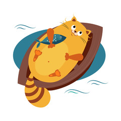 Cat on a Boat Hugging Fish. Vector Illustration