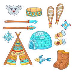 Doodle cartoon eskimo antarctica north pole  icons vector set