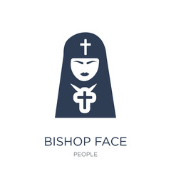 Bishop face icon. Trendy flat vector Bishop face icon on white background from People collection