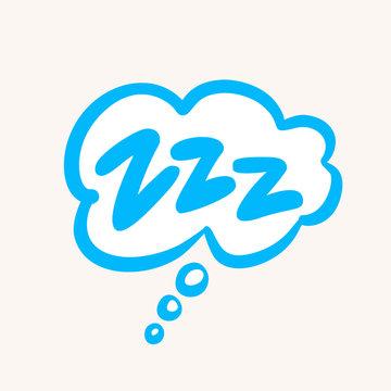 Comic bubble Zzz. Sleeping vector icon.