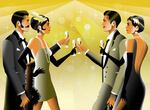 2 Couples at a party in the style of the early 20th century. Retro party invitation card. Handmade drawing vector illustration. Art Deco style.