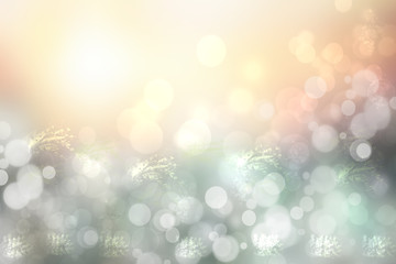 Abstract blurred festive Happy New Year background with falling snowflakes and with a brightly lit sky. Space for your design. Card concept.