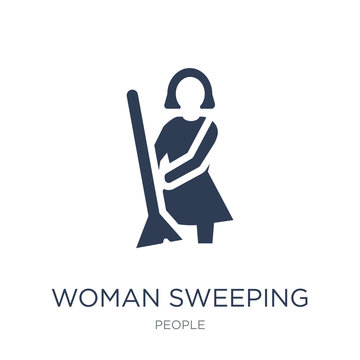 Woman Sweeping icon. Trendy flat vector Woman Sweeping icon on white background from People collection