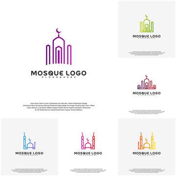 Set Islamic logo design vector. Mosque logo template. Muslims learn logo templates