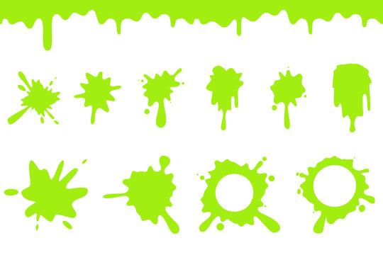 Spill green slime splash flowing dripping splatter seamless liquid cartoon design vector illustration