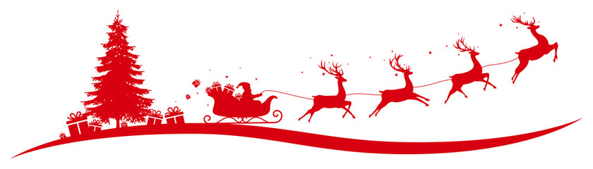 Christmas border with flying sleigh