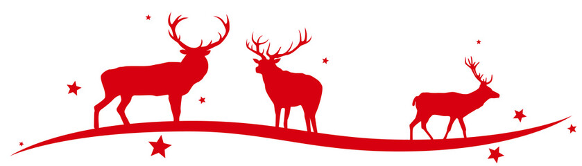 Christmas border with reindeers