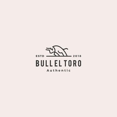 charging bull el toro logo retro vintage hipster vector icon line outline monoline illustration