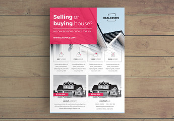 Real Estate Flyer Layout with Red Accents