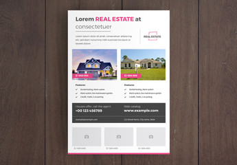 Real Estate Flyer Layout with Pink Accents