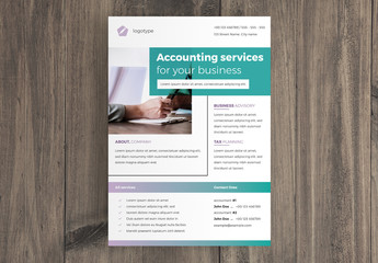 Business Flyer Layout with Teal and Purple Accents