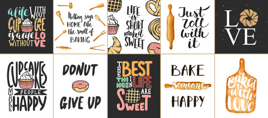 Set of vector bakery lettering posters, greeting cards, decoration, prints. Hand drawn typography design elements. Handwritten lettering. Modern ink brush calligraphy.