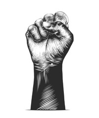 Vector engraved style illustration for posters, decoration and print. Hand drawn sketch of human fist in monochrome isolated on white background. Detailed vintage woodcut style drawing.