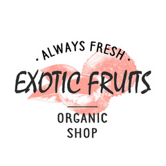 Vintage style shop label, badge, emblem, logo with hand drawn sketch of lychees fruit. Colorful graphic art with engraved design element in monochrome isolated on white background.