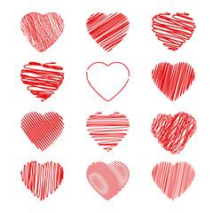 set red heart vector