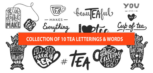 Estores personalizados para cocina con tu foto Set of vector tea lettering slogans, words and phrases, greeting cards, decoration, prints. Hand drawn typography design elements. Handwritten lettering. Modern ink brush calligraphy.