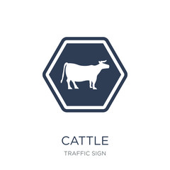 cattle sign icon. Trendy flat vector cattle sign icon on white background from traffic sign collection