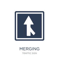 Merging sign icon. Trendy flat vector Merging sign icon on white background from traffic sign collection