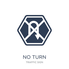 No turn sign icon. Trendy flat vector No turn sign icon on white background from traffic sign collection