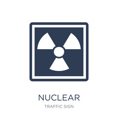 Nuclear sign icon. Trendy flat vector Nuclear sign icon on white background from traffic sign collection