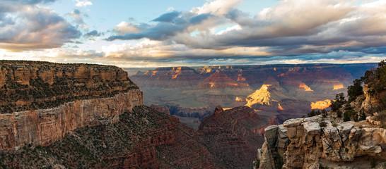 Panorama shot of the grand canyon at sunset